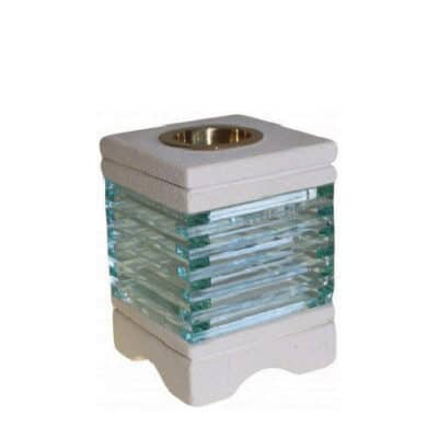 aromalamp van zandsteen met glas