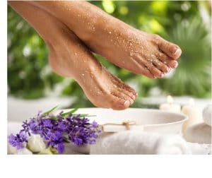 verkwikkend voetenbad met lavendel