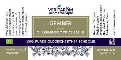 Gember biologisch etherische olie label