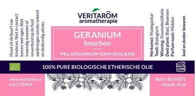 Geranium bourbon biologisch etherische olie label