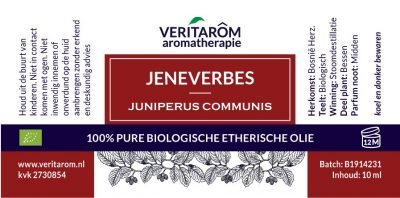 Jeneverbes biologisch etherische olie label