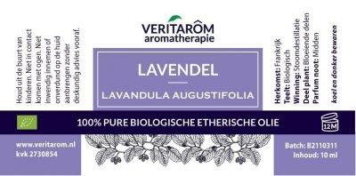 Lavendel bologisch etherische olie label