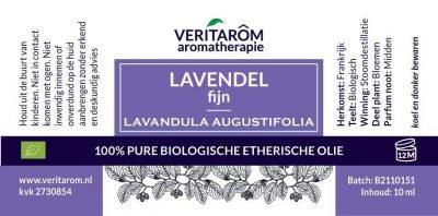 Lavendel fijn biologisch etherische olie label