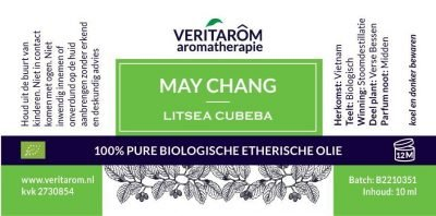 May Chang biologisch etherische olie label