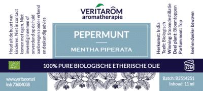 Pepermunt etherische olie label