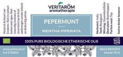 Pepermunt biologisch etherische olie label