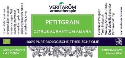 Petitgrain biologisch etherische olie label