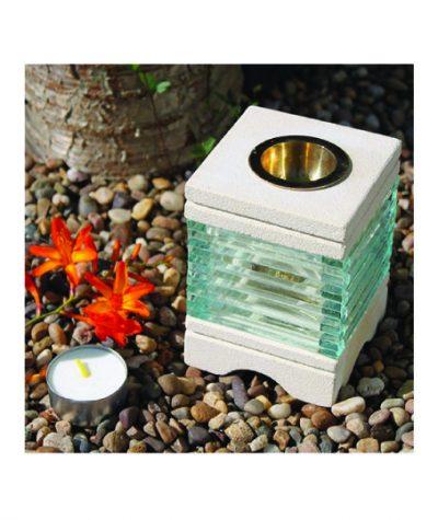 aromalamp zandsteen met glas waxinelichtje
