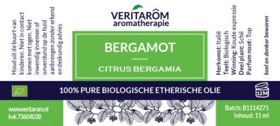 Bergamot etherische olie label