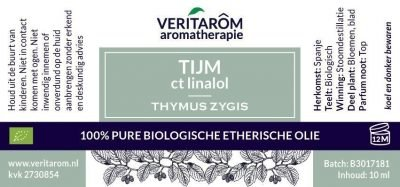 Tijm biologisch etherische olie label