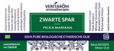 Zwarte Spar etherische olie label