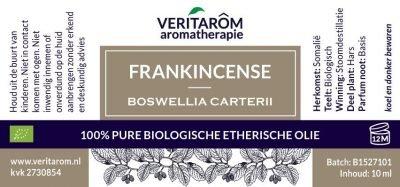 Frankincense, ook wel Wierook genoemd, biologisch etherische olie label