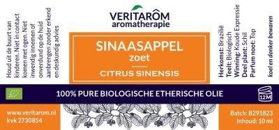 Sinaasappel zoet biologisch etherische olie label