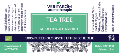 Tea Tree etherische olie label