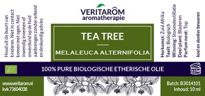 label Tea tree biologische etherische olie 10 ml flesje