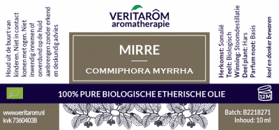 Mirre biologisch etherische olie label