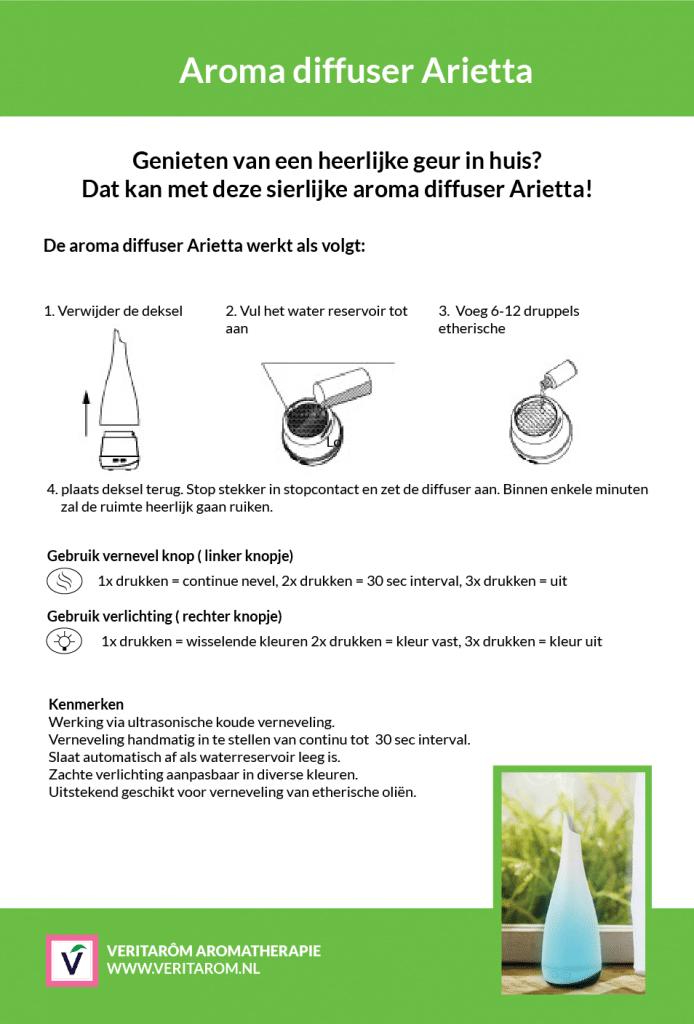 aroma diffuser arietta instructie kaart