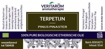 Terpetijn biologische etherische olie label
