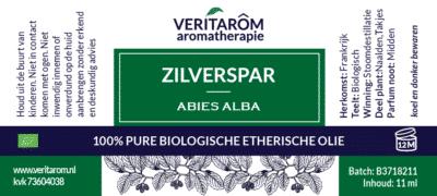 Zilverspar etherische olie label