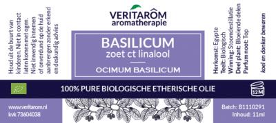 zoete basilicum etherische olie label