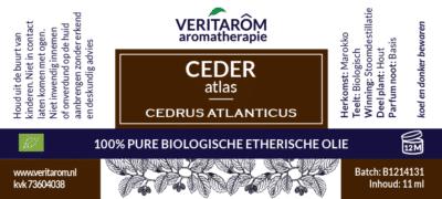 Ceder Atlas etherische olie label