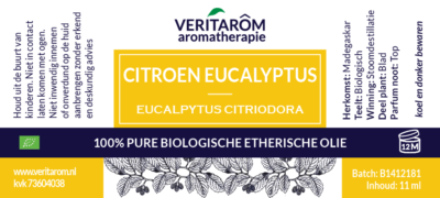 citroen eucalyptus etherische olie label