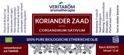 korianderzaad etherische olie label