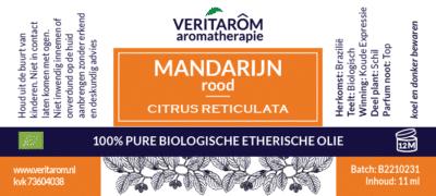 mandarijn rood etherische olie label