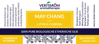 may chang etherische olie label