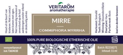 mirre etherische olie label