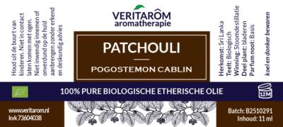Patchouli etherische olie label