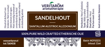 Sandelhout etherische olie label
