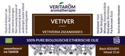 Vetiver etherische olie label